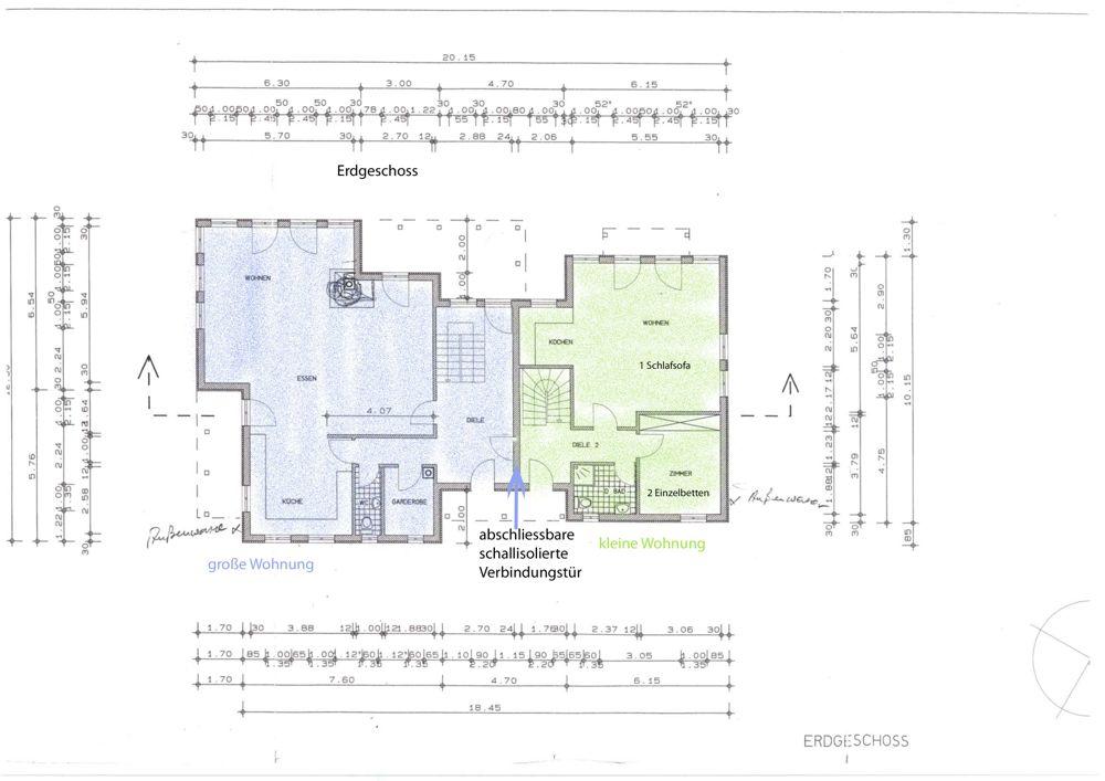 Grundriss des Ferienhauses für 20 Personen