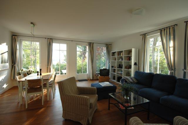 Wohnzimmer im Ferienhaus am Dieksee